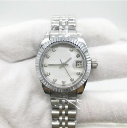 Wholesale Shell Bracelet Color - Ladies watch luxury brand DATE 26mm size sapphire glass watch shell dial stainless steel bracelet AAA quality women replicas watches 291
