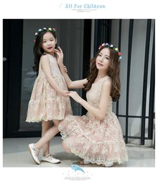 Wholesale Mother Daughter Parent - Family Matching Outfits Leisure Girls Princess Dress Summer vaction Parent-child Family Dress Mother and Daughter outfit Vest Dress