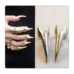 Wholesale Metal Spiked Tip - Wholesale Finger Tip Rings Gothic Punk Rock Style Talon Spike Claw Silver Plated Metal Nail Art Decoration Women Girl Claw Free Shipping