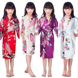 Wholesale Kids Kimonos - Satin Pajama Kid Children Sleepwear Wedding Flower girls Gown High Quality Kimono Robes Peacock Nightgown free fast shipping
