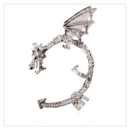 Wholesale Earrings Gothic Dragons - Gothic Earring Classic Dragon Ear Wrap Cuff Earring Punk Rock Left Ear Ear Hook Stud Earring Gift Free Shipping