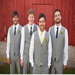 Wholesale Ties Grey Waistcoat - Wholesale- New Design Grey Suits For Best Man Slim V-Neck Waistcoat Business Trousres Wedding Dinner Tuxedos For Groomsmen (Vest+Tie+Pant)