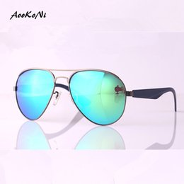 Wholesale Flash Drive Boxes - AOOKONI AK3523 Real Polarized Men Pilot Aviation Sunglasses Flash Mirrored Lens Women Brand Designer High Quality Sun Glasses with box
