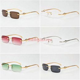 Wholesale Vintage Glass Head - Classic Men Women Rimless Sunglasses Vintage Brand Designer Leopard Head Gold Meal Frames Optical Eyewear Buffalo Horn Sun glasses