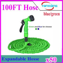 Wholesale Nozzles For Expandable Hose Pipes - Hot Expandable & Flexible Plastic Hose Water Garden Pipe With Spray Nozzle For Car Wash Pet Bath Original 100FT 50pcs ZY-SG-01