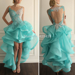 Wholesale Transparent Sexy Models - 2017 Sexy Sheer Scoop Neck Transparent Back Organza Lace Front Short Back Long Mint Evening Dress Prom Asymmetrica