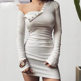 b1a7c1160b4 Autumn one shoulder bodycon sexy dress Women long sleeve elastic white  dresses Winter evening club black short dress