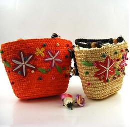 Abalorios patrón de bolso de hombro online-Japón y estilo coreano bolsas de paja tejidas patrón de estrellas hombro bolsos abalorios bolsas de playa con cremallera