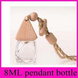 Wholesale Empty Diamond Bottle - 8ML diamond pendant Automotive car ornaments perfume bottles glass perfume bottle for car   8 ml glass gift car empty bottle