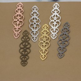 Wholesale Gold Bendable Necklace - 07871 15*57mm antique bronze silver rose gold gun black bendable filigree flower charms for jewelry making, metal bracelet necklace pendants