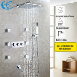 Wholesale Bath Drops - Air Drop Water Saving Bathroom Shower Faucet Set Easy-Installation Rain Bath & Shower Head Hot And Cold Mixer Faucet Valve