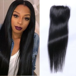 Wholesale Silk Top Lace Closure Indian - Best selling silk straight 3.5 x 4'' Lace Closure Slightly Bleached Knots Top Grade Brazilian Human Hair Closures Free Parted
