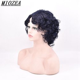 Wholesale Short Dark Blue Hair - Short Curly Synthetic hair Wig High Temperature Fiber Dark blue 12inch For Women Wig