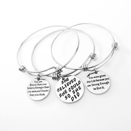 Wholesale Wholesale Fashion Jewelry Usa - USA inspirational bracelets new fashion jewelry stainless steel bangle expandable pendant charm love bracelet for young girls as gifts