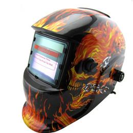 Wholesale Skeleton Helmets - Cheap New fire skeleton Li battery+Solar auto darkening welding helmet(No battery change need) mask