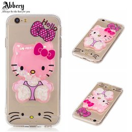 Wholesale Iphone Case Pretty Pink - 2017 New Luxury Pretty Arrival Quicksand 3D Bear Case for iPhone 6 6plus 6s 6plus 7 7plus TPU + Acrylic Back Case Funda Cover
