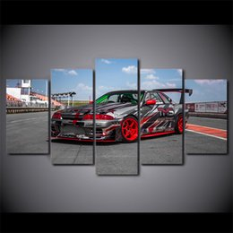 Wholesale Ground Pictures - 5 Pcs Set Framed Printed Sports Car Racing Ground Poster Modern Home Wall Decor Canvas Picture Art HD Print Painting