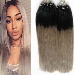 Wholesale Ash Blonde Human Hair Extensions - Micro loop human hair extensions 1g 1B Grey ash blonde hair extensions 200g grey hair extensions