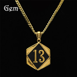 Wholesale Lucky 13 Pendant - High Quality Hiphop Jewelry shield Lucky 13 digital Hip Hop Pendant Luxury Necklaces Gold Link Chains Wholesale