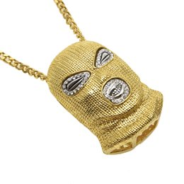 Wholesale Mask Hip Hop - Hip Hop CSGO Pendant Necklace Mens Punk Style 18K Alloy Gold Silver Plated Mask Head Charm Pendant High Quality Cuban Link Chain Men jewelry