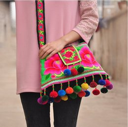 Wholesale Beaded Embroidered Fabric - Wholesale- HOT sale Ethnic Cotton Fabric Peony Embroidered Shoulder bags handmade beaded Pompon Messenger bags red   blue   green