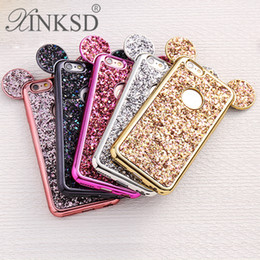 Wholesale Mouse Soft - Luxury Glitter Bling Cell Phone Cases for iPhone 6 6S 7 Plus 3D Mouse Ears Soft Case Cover For iphone i7 i6s case