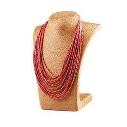 Wholesale Multi Chain Bib Necklace - Bohemia Style 20 Layers Multi layer Bib Statement Collar Glass Beaded Choker Necklace Fashion Jewelry For Women Wholesale