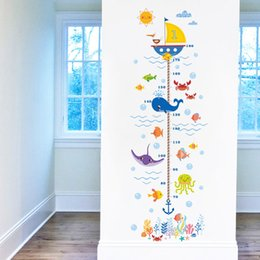 Wholesale Underwater Wall Decorations - Hot wholesale New Underwater World Kids Growth Chart Height Measure For Home Kids Rooms DIY Decoration Wall Stickers