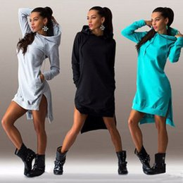 Wholesale Mini Hoodies - 2017 Ladies Hoodies Dresses Sweatshirt Dresses Double Split Hoodies Long Sleeve Dresses Pullover Pockets Sweater Sundresses
