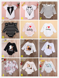 Wholesale Wool Shorts Baby Girl - 2017 Baby Onesies Ins Cute Boy Girl Romper Stripe Flower Solid Color Long Sleeve Brief Halloween Thanksgiving Festival Kid Clothing 0-18 24M