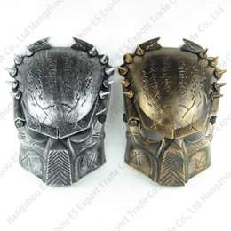 Wholesale Halloween Alien Props - 100pcs Vivid Alien Movie Mask Product Supper Exquisite Replica AVP Predator Mask Good Quality Film Prop Gold And Silver