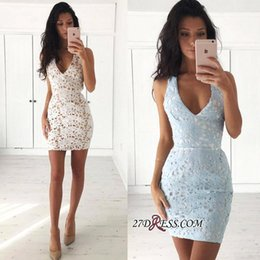 Wholesale Full Cocktail - 2017 Sexy Short Mini Sheath Homecoming Dresses Baby Blue Deep V Neck Full Lace Party Graduation Gowns Cocktail Dress Custom Made