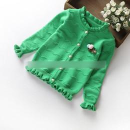 Wholesale Sweater Korean Girl - Kids knitting cardigan sweater girls ruffle cotton long sleeve stereo flowers knitting sweater autumn children Korean style clothes C0549