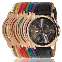 Wholesale Geneva Metal - Unisex Luxury Geneva Watches PU Leather Band Quartz Roman Numerals Analog 15 Colors Wristwatches for Men Women Casual Wrist Watch
