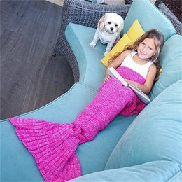 Wholesale New Baby Crochet Blankets - NEW Baby crochet mermaid tail blankets handmade blankets mermaid sleeping bag knit Sofa Blankets 90*50cm C1730