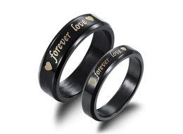 Любовь мальчика девочки кольцо онлайн-Мода день ювелирные изделия 2017 Мужчины Женщины пара кольцо черный навсегда Любовь шаблон пара кольца - подходит для подарков мальчик подруга