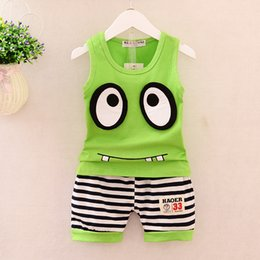 Wholesale Baby Boy Clothes Free Shipping - 2017 children's clothing baby kids Cotton sleeveless T-shirt + shorts 2 pieces sets children's set 6M-3 years old summer suit Free shipping