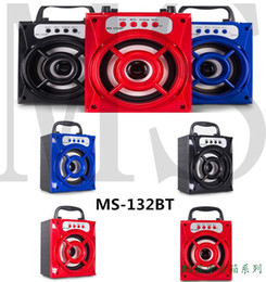 Wholesale Mini Square Speakers - MS-132BT Portable Mini Wireless Bluetooth Square Speaker Support FM, LED Shinning,TF Card Music Playing, Volume Control