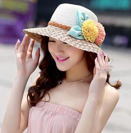 Wholesale Cotton Paper Flowers - Wholesale- New Arrival Double Flowers Weave Straw Hat Fashion Wide Brim Summer Hats Girl Women Outdoor Beach Hat Floral Bow Sun Hat