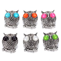 Wholesale Press Metal Snap Button - Fashion Crystal Ginger Snap Jewelry Animal Owl Metal Snap Mixed press buttons For 18mm Snap Bracelets for Women