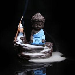 Wholesale Zen Home Decor - Wholesale- Creative Home Decor Zen Buddha Censer Ceramic Yixing Aroma Backflow Stick Incense Burner Purple Clay Kung Fu Monk Incense Base