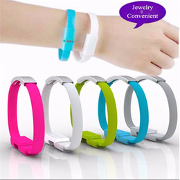 Wholesale Micro Usb Charging Bracelet - Brand V8 Micro USB Cable Silicone Wrist Bracelet Data Sync Charge Cables Wristband For Samsung Xiaomi HTC Android Smart Phones