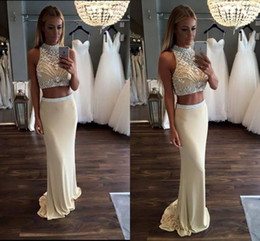 Wholesale Hot Prom Silk Dress - 2017 Hot Halter Two Pieces Prom Dresses Sheath High Collar Crystals Beaded Long Evening Gowns Formal Party Holiday Dresses