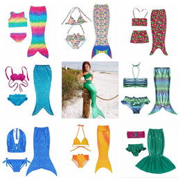 Wholesale Girls Swim Costumes - Girl Mermaid Tail Swimmable Kids Mermaid Tail Bikini Set Mermaid Fins Swimsuit Swimwear Swimming Beachwear Bathing Suit Costume OOA2004