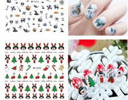 Wholesale Christmas Santa Claus Gift - 3D Christmas gift design Santa Claus snowman Christmas tree Water Transfer Nails Art Sticker decals nail decal