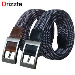Wholesale Braided Black Belt Men - Wholesale- Drizzte 110 130 150cm 51'' 59'' Plus Size Elastic Woven Braid Black Brown Men's Belt Band Trouser Pants Mens Belts XL XXL XXXL