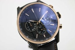 Wholesale Gold Tone Belts - luxury Brand Quartz Chronograph Two Tone Black Dial Leather Belt Original Clasp Sports Men's Watch Wristwatch Fashion Men's Watches