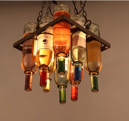 Wholesale Wine Glasses Chandelier Lamp Light - Loft Painted Glass Wine Bottle Pendant Light Industrialstyle Glass Chandelier Decor Personality Pendant Lamp for Bar Restaurant Cafe