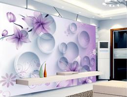 Wholesale 3d Rose Flower Fabric - Purple Dream Flowers 3D Stereo TV Background Wall 3d murals wallpaper for living room