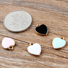 Wholesale Assorted Slide Charms - Free Shipping 12pcs lot Trendy Style Gold Tone Assorted Color 11*14MM Enamel Lovely Heart Charm Alloy Pendant DIY Jewelry Accessories